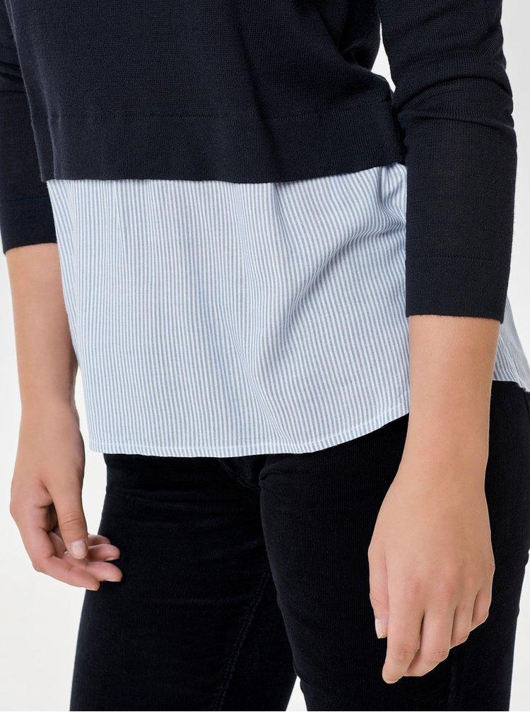 Tmavomodrý svetrový top s všitou blúzkovou časťou ONLY New