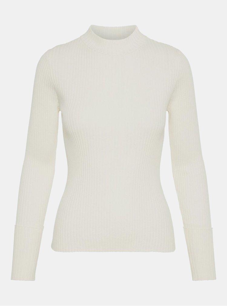 Krémový žebrovaný basic svetr se stojáčkem AWARE by VERO MODA Fine