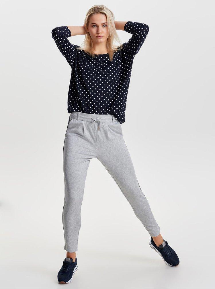Tmavě modré puntíkované volné tričko s 3/4 rukávem ONLY Elcos