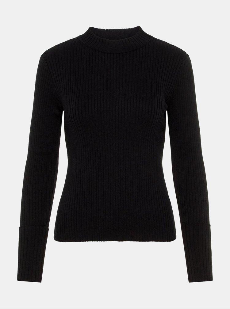 Černý žebrovaný basic svetr se stojáčkem AWARE by VERO MODA Fine