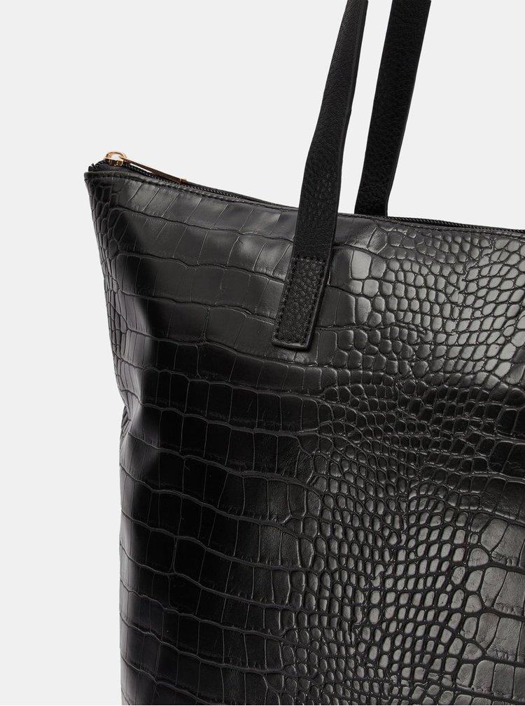 Černý shopper s krokodýlím vzorem VERO MODA Kiwa
