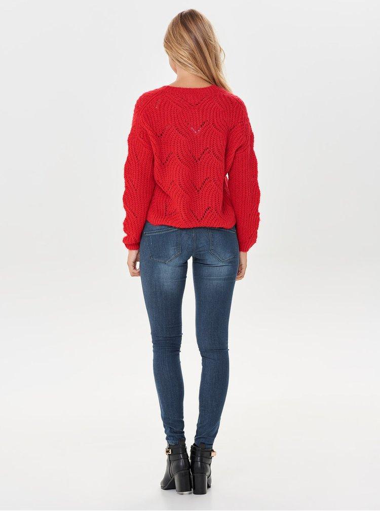 Červený oversize sveter s dlhým rukávom ONLY Havana