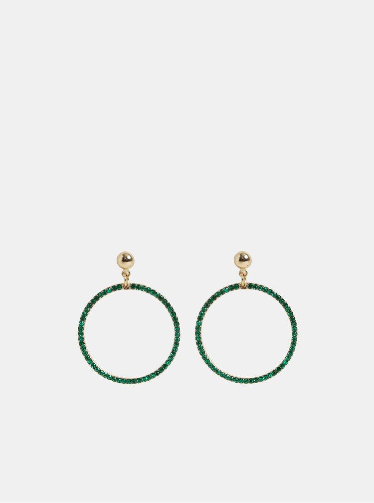 Kruhové visací náušnice ve zlaté barvě se zelenými kamínky Pieces Lexi