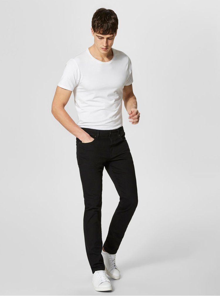 Blugi negri slim fit Selected Homme Leon