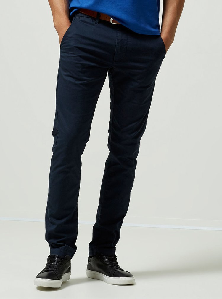 Tmavomodré slim fit chino nohavice s opaskom Selected Homme Yard
