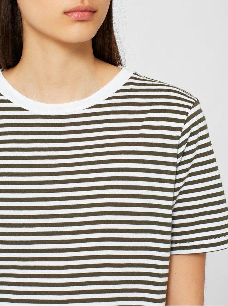 Krémovo-zelené pruhované basic tričko Selected Femme MyPerfect