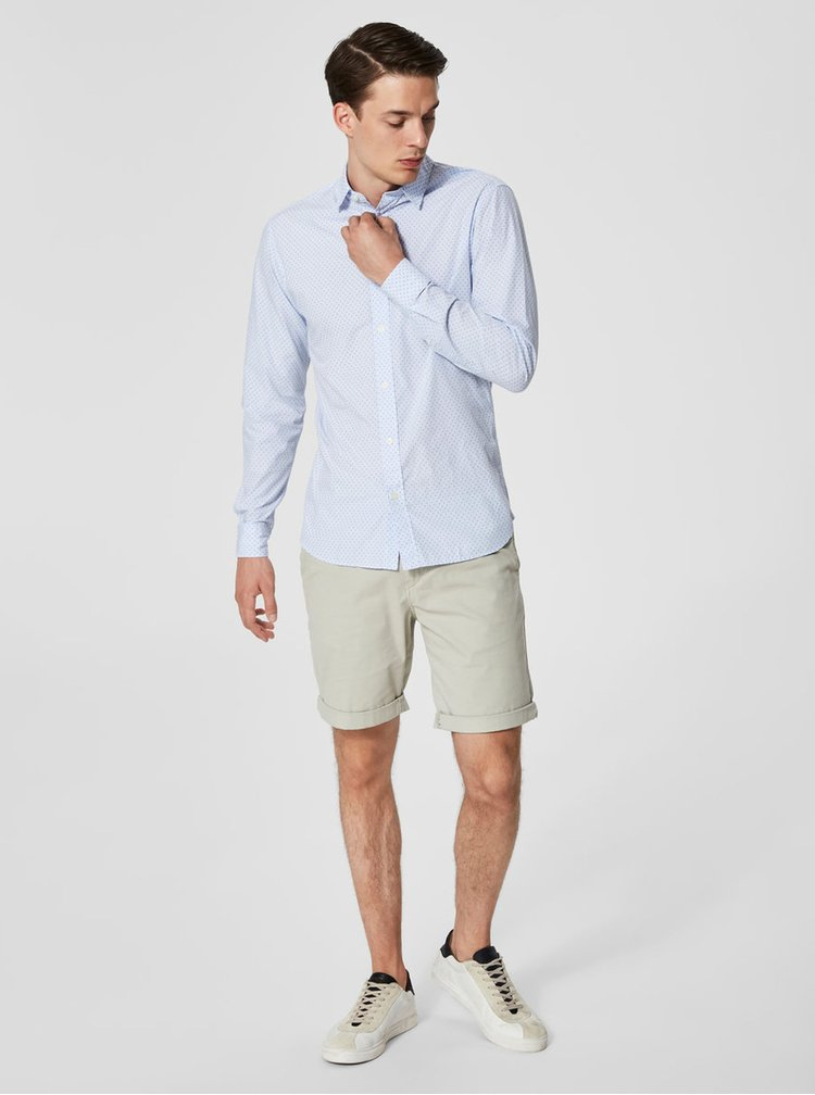 Camasa slim fit albastru deschis cu model Selected Homme