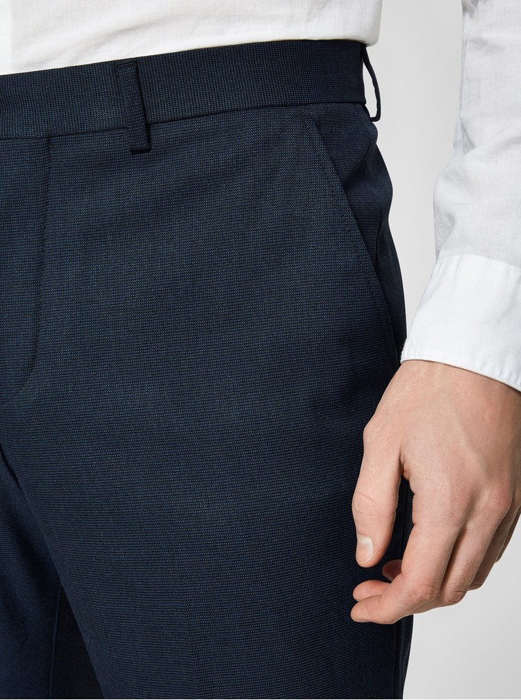 Pantaloni eleganti bleumarin cu model discret - Selected Homme Slim