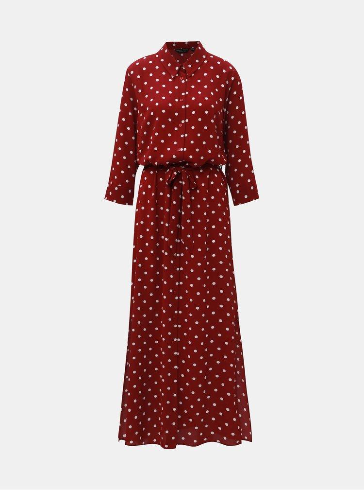 Vínové puntíkované košilové maxišaty Dorothy Perkins