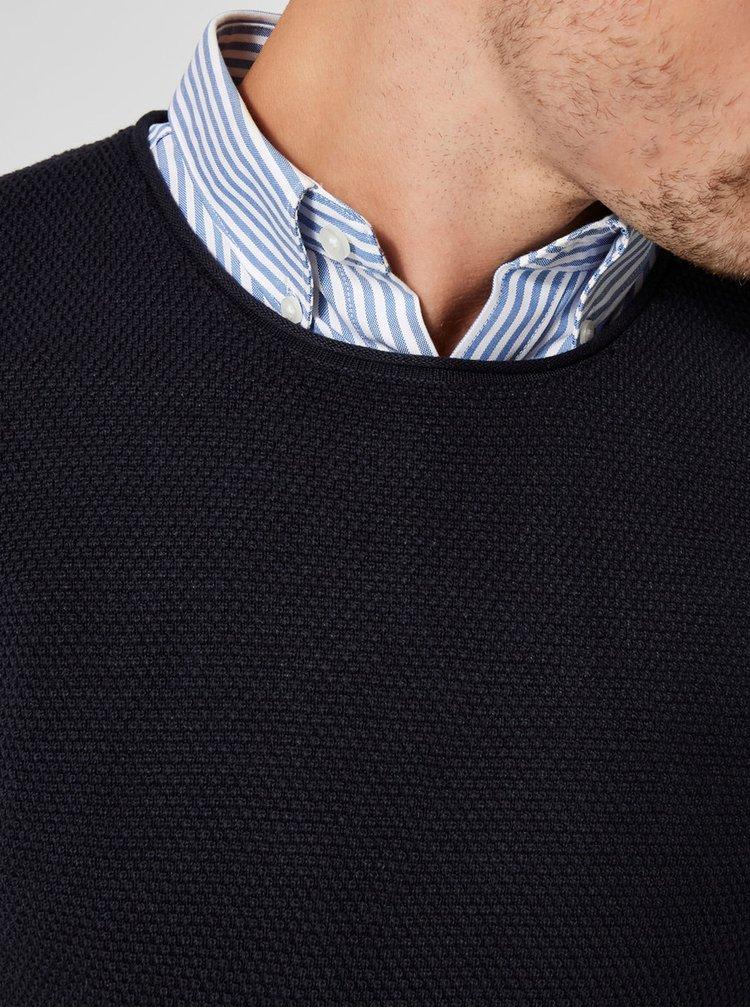 Tmavě modrý basic svetr s kulatým výstřihem Selected Homme Rocky