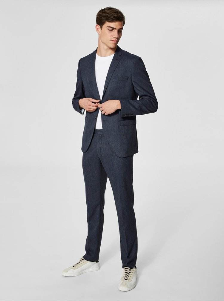 Modré oblekové nohavice Selected Homme