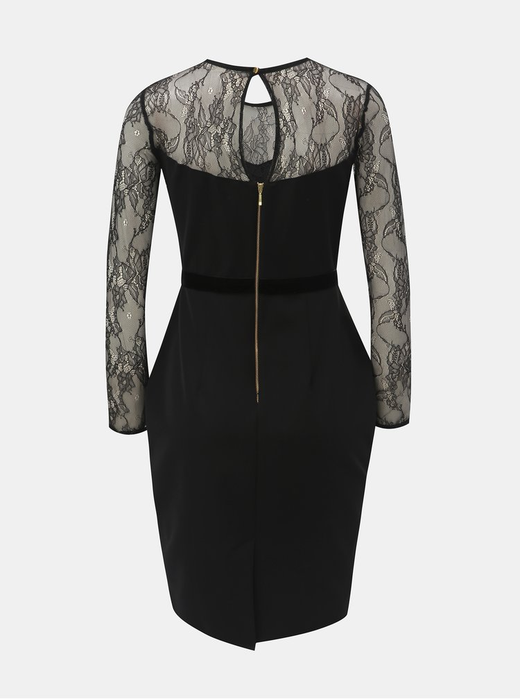 Černé pouzdrové šaty s krajkovým sedlem a rukávy Dorothy Perkins Petite