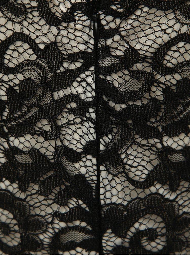 Bílo-černé krajkové šaty s ozdobnými knoflíky Dorothy Perkins