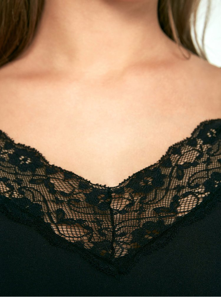Camasa de noapte neagra fara cusaturi cu bretele si detalii din dantela Pieces Toloa
