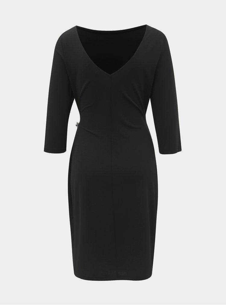 Čierne puzdrové šaty s brošňou a riasením na boku Dorothy Perkins