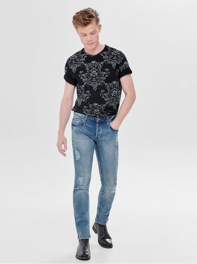 Blugi albastri slim fit din denim cu aspect uzat si prespalat ONLY & SONS