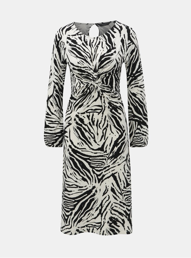 Čierno–biele vzorované šaty s riasením na bruchu Dorothy Perkins
