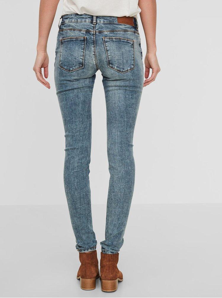 Modré žíhané slim fit džíny s nízkým pasem Noisy May Eve