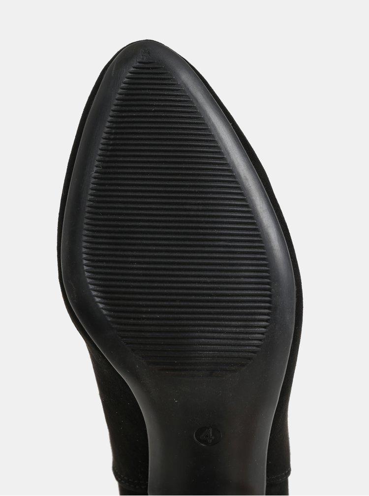 Černé nízké kozačky v semišové úpravě na podpatku Dorothy Perkins