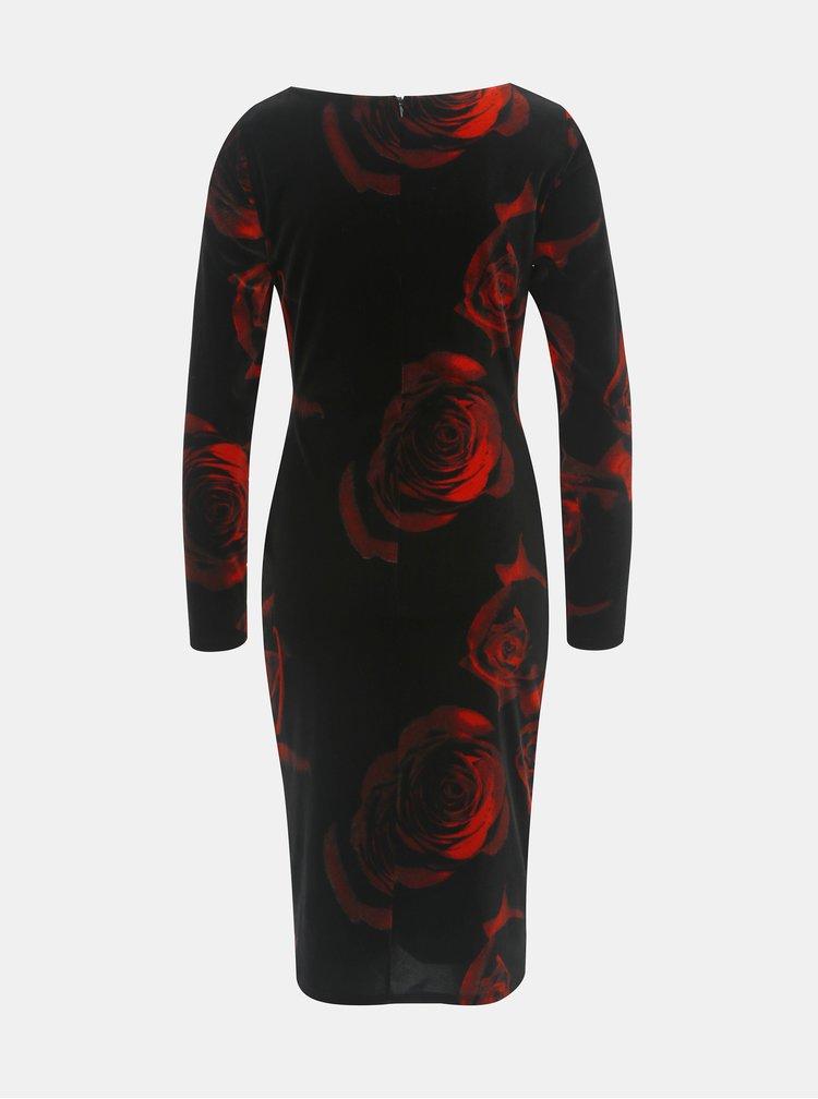 Červeno-černé sametové květované šaty Lily & Franc by Dorothy Perkins