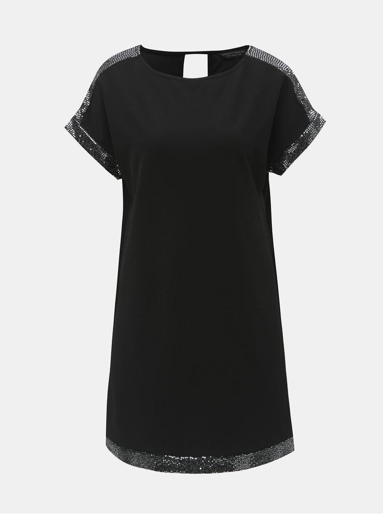 Černé šaty s flitry a průstřihem na zádech Dorothy Perkins