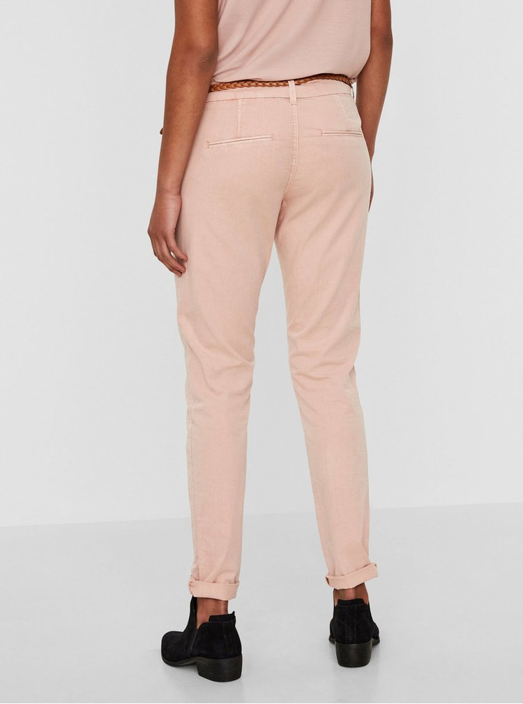 Růžové chino kalhoty s páskem VERO MODA Flame