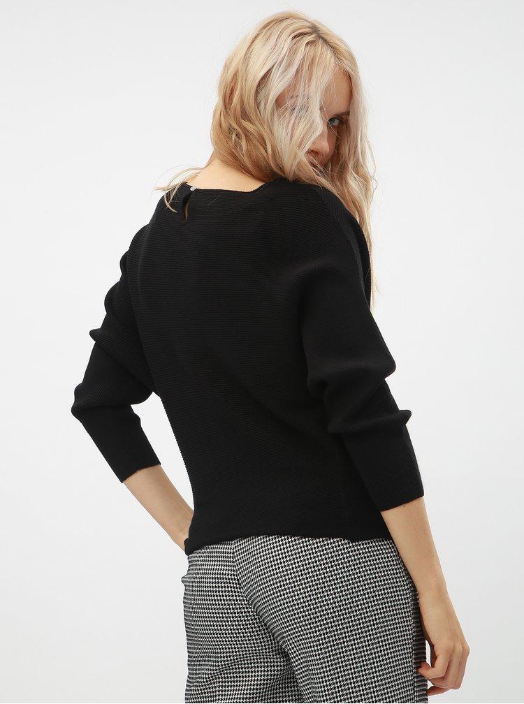 Čierny rebrovaný sveter s netopierími rukávmi ONLY Vita