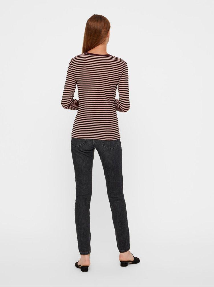 Černo-růžové pruhované tričko VERO MODA Ita