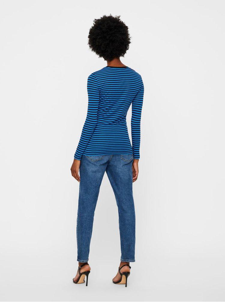 Vínovo-modré pruhované basic tričko VERO MODA Ita