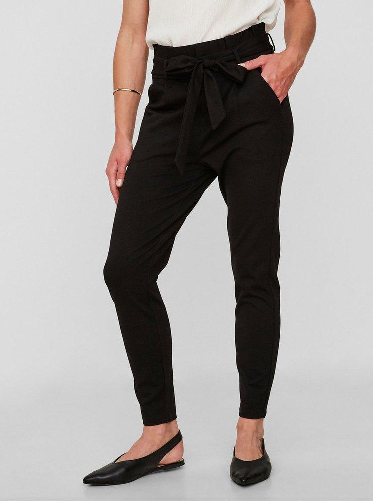 Pantaloni negri crop cu talie inalta VERO MODA
