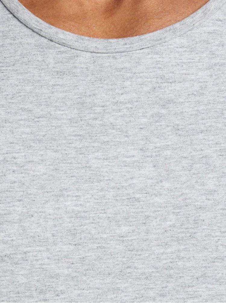 Svetlosivé basic tričko Jack & Jones Hugo