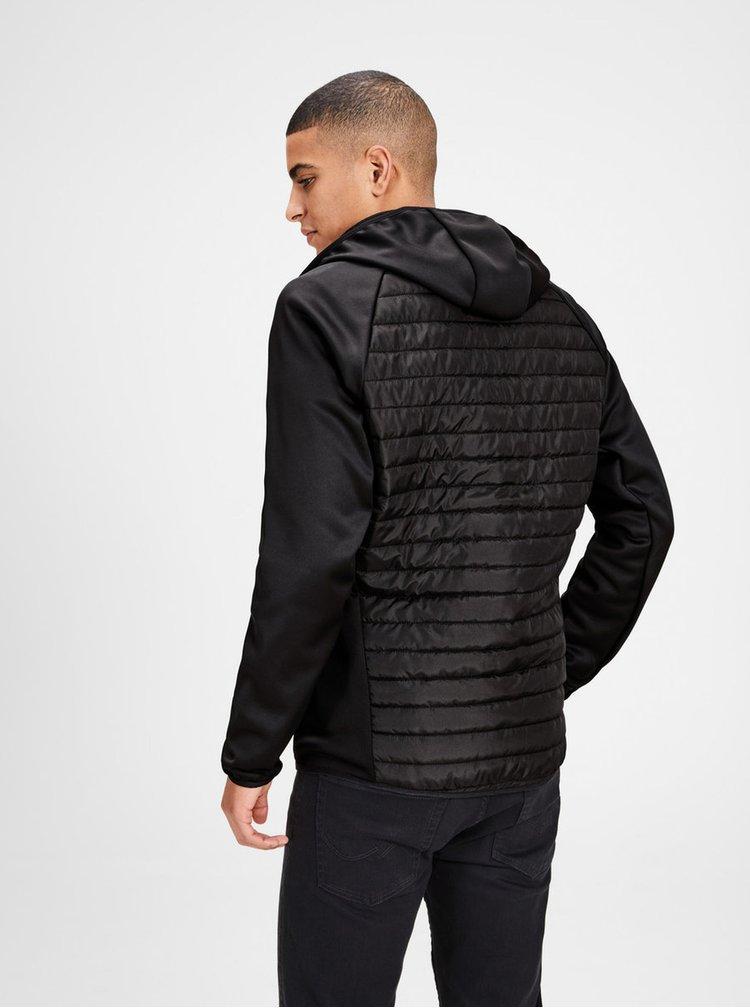 Černá prošívaná bunda s kapucí Jack & Jones Multi Quilted