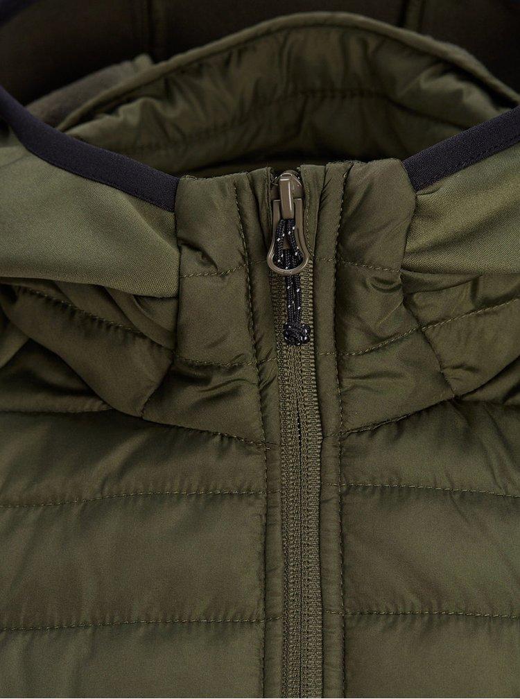 Kaki prešívaná bunda s kapucňou Jack & Jones