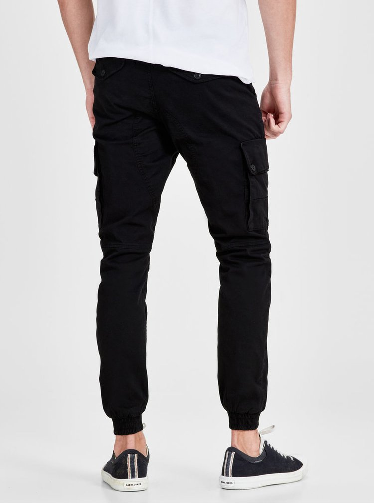 Pantaloni cargo negri Jack & Jones Paul