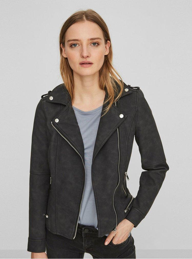 Čierna kožená bunda s vreckami VILA Laja  efde84d7eef