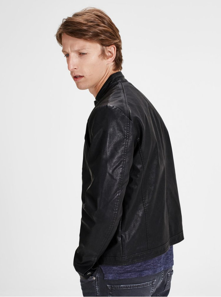 Jacheta neagra biker Jack & Jones Originals