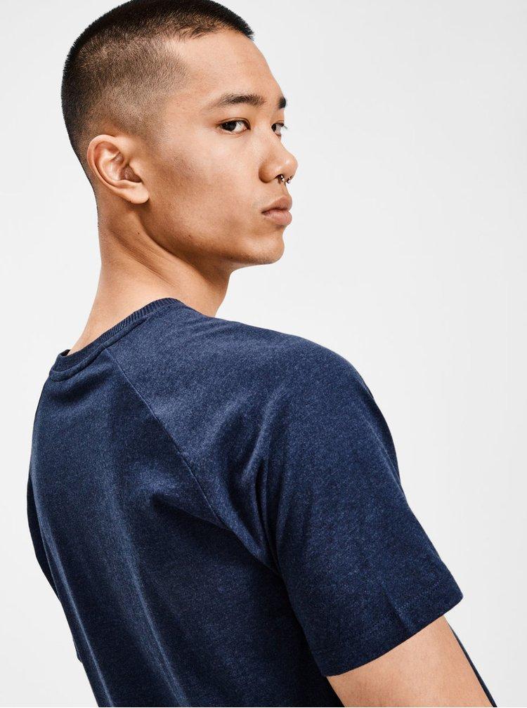 Modré basic tričko s krátkým rukávem Jack & Jones Corafe