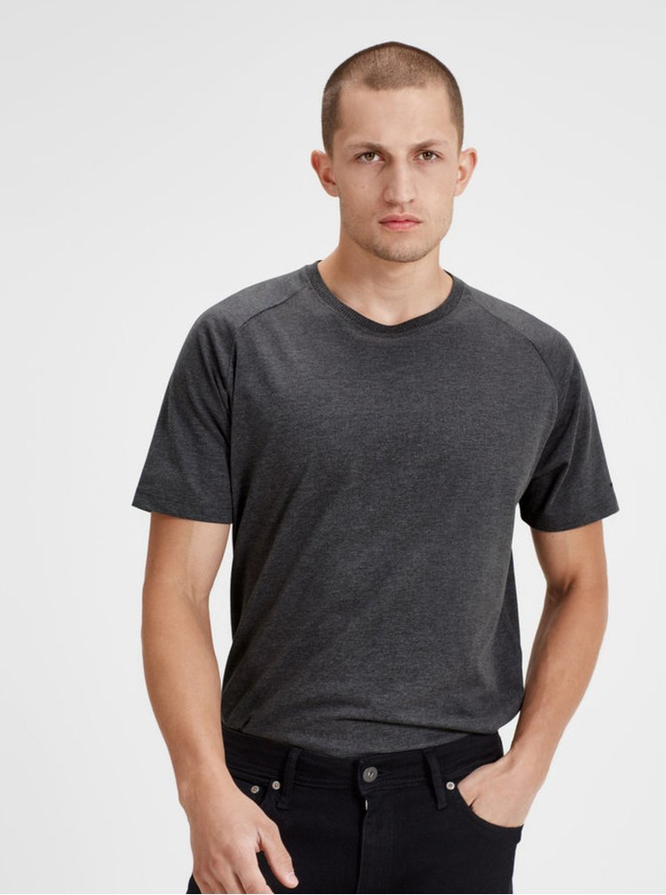 Sivé basic tričko s krátkym rukávom Jack & Jones Corafe