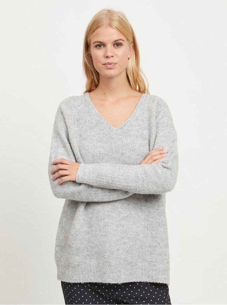 Sivý melírovaný voľný sveter s prímesou vlny VILA