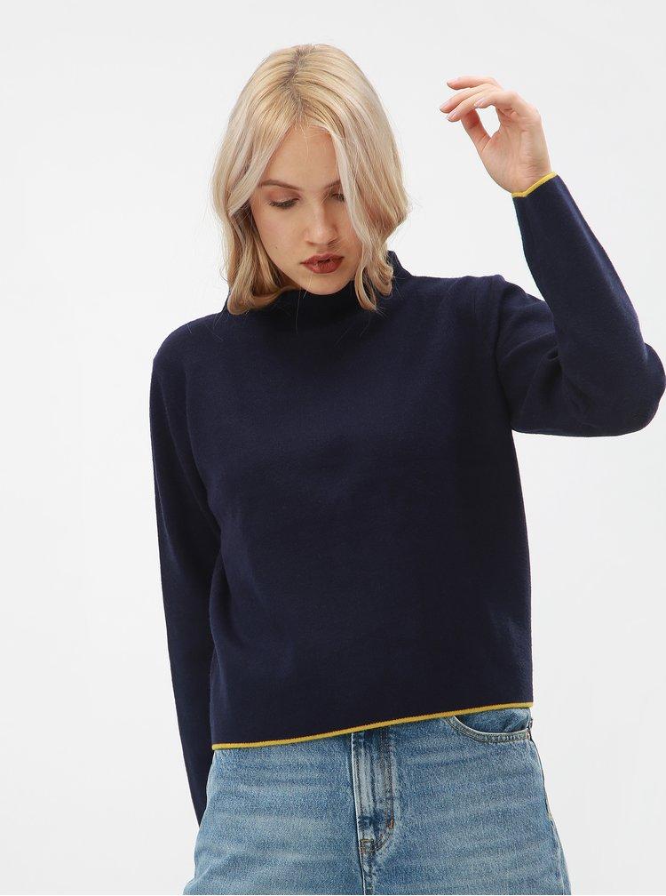 Modrý dámský volný svetr s pruhem na zádech Broadway Mora