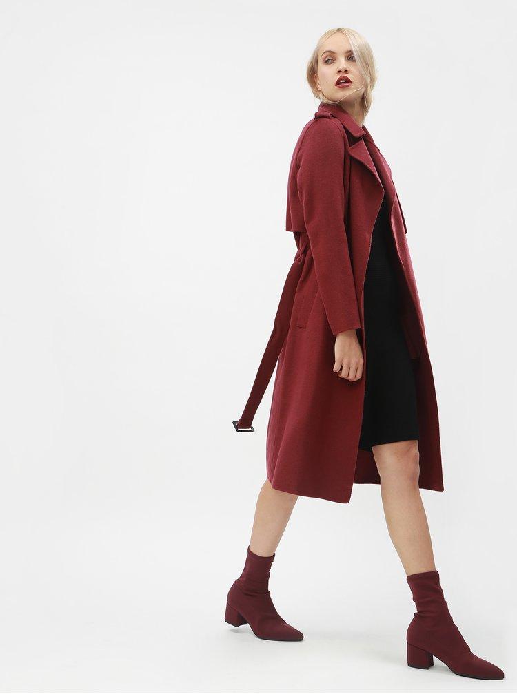 Vínový vlněný kabát s páskem Selected Femme Tana
