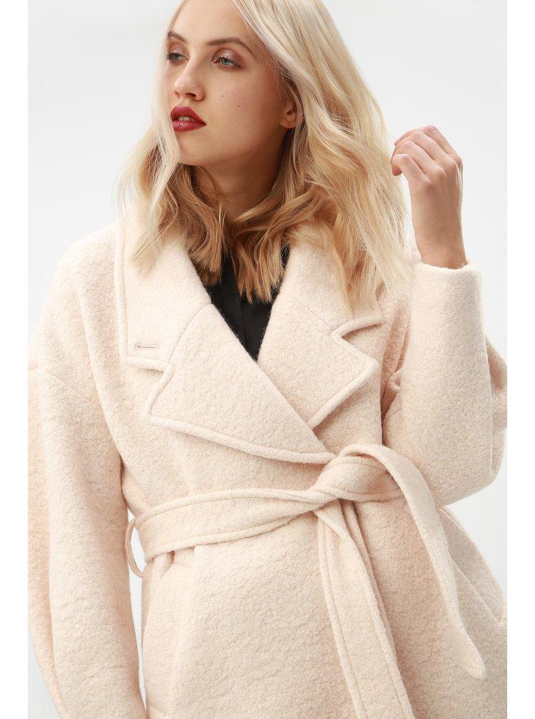 Pardesiu roz deschis din lana cu cordon Selected Femme Paja