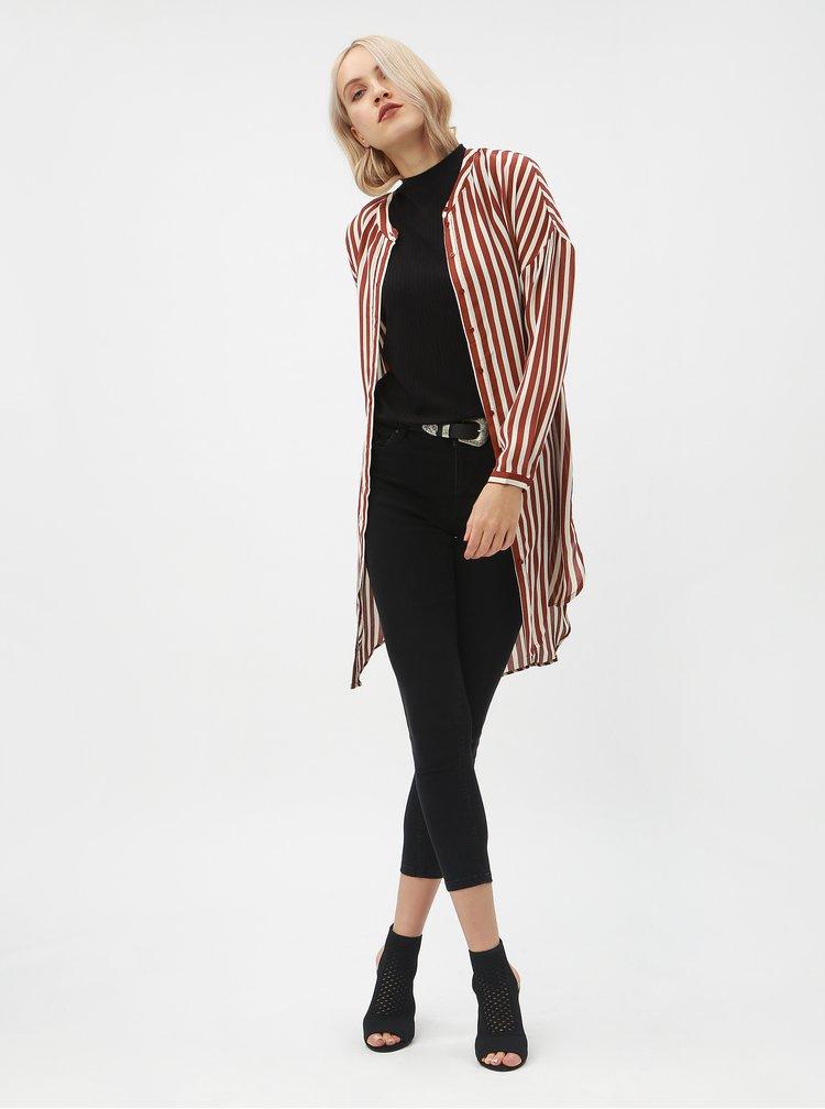 Krémovo-hnědé pruhované košilové šaty VERO MODA Zilia