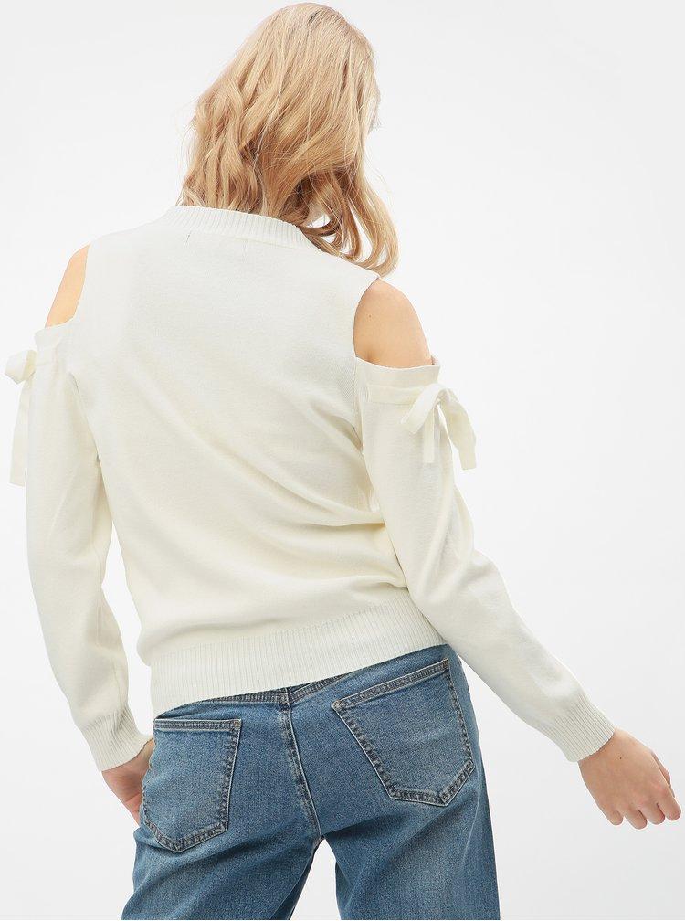 Krémový svetr s průstřihy na ramenou VERO MODA Celena