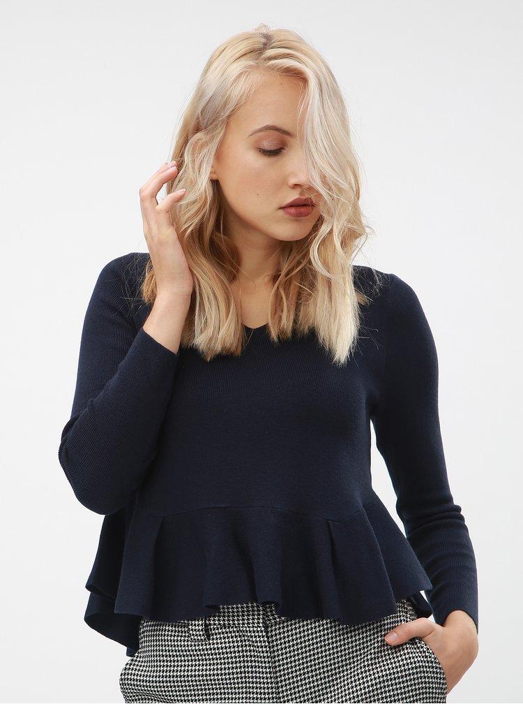 Tmavě modrý krátký svetr s volánem ONLY Rosana