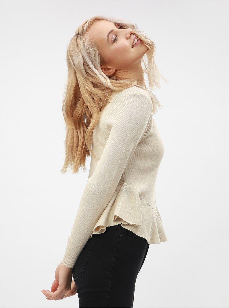 Béžový sveter s volánom ONLY Rosana