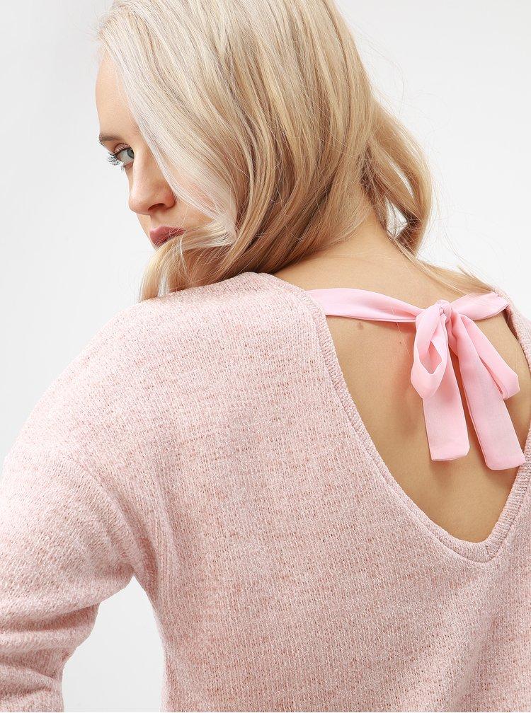 Svetloružový tenký sveter s mašľou za krkom ONLY Star