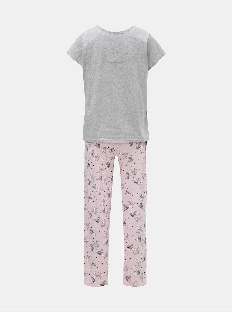 Sivo–ružové dvojdielne pyžamo s motívom jednorožca a zamatovými detailmi Dorothy Perkins
