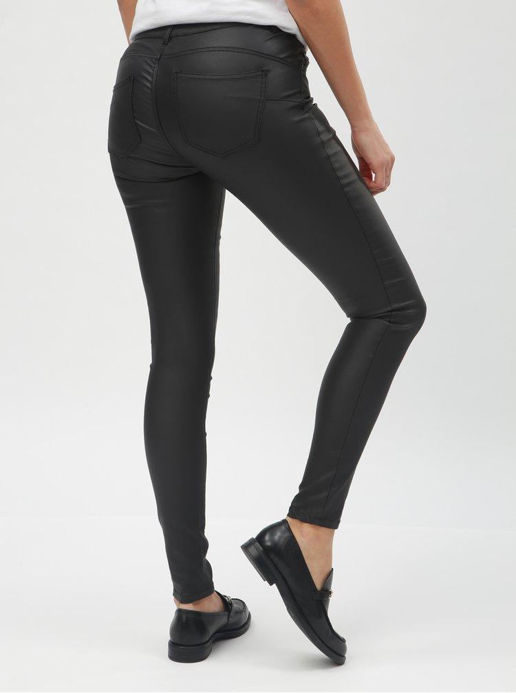 Čierne skinny nohavice s povrchovou úpravou ONLY Loulou