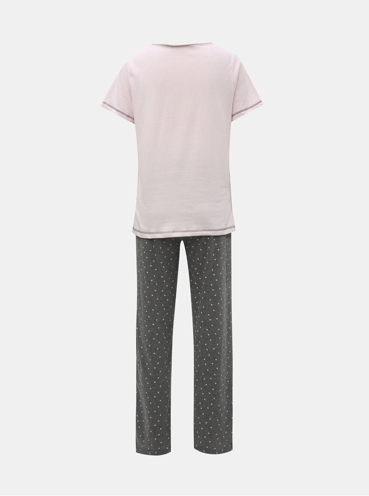 Šedo-růžové dvoudílné pyžamo s motivem koaly Dorothy Perkins